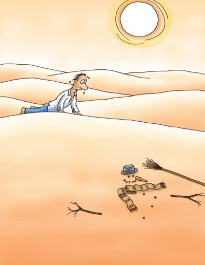 Snowman in desert