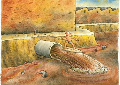 Surfing effluent pipe