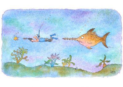 Swordfish and scuba diver