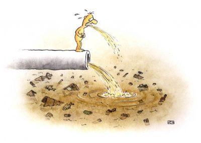 Vomiting on effluent pipe