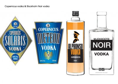 Labels for various brands of vodka
