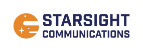 Starsight communications logo. Company name in navy alongside an orange planet with white stars.