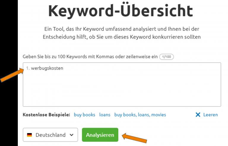 keyword uebersicht