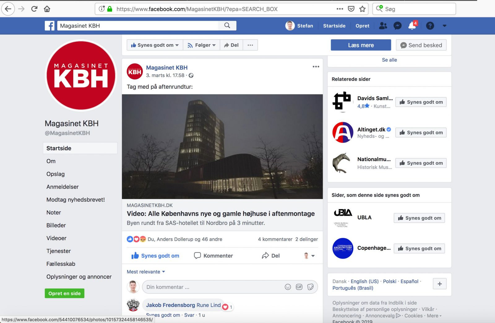 Screendump of Magasinet KBHs Facebook page - the story about the video Copenhigh by Stefan Grage