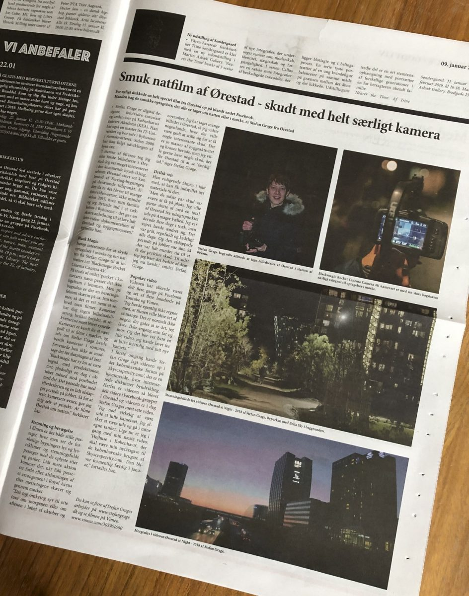 My first tearsheet - about the video production Ørestad at night