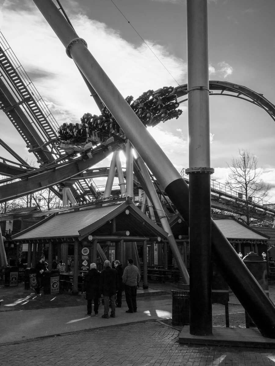 A roller coaster passes by, Halloween in Tivoli
