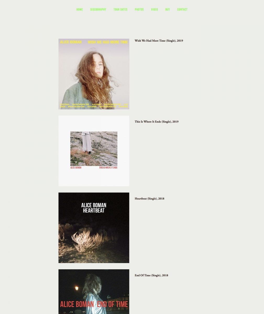 """Screendump of the """"discography"""" page on aliceboman.com"""