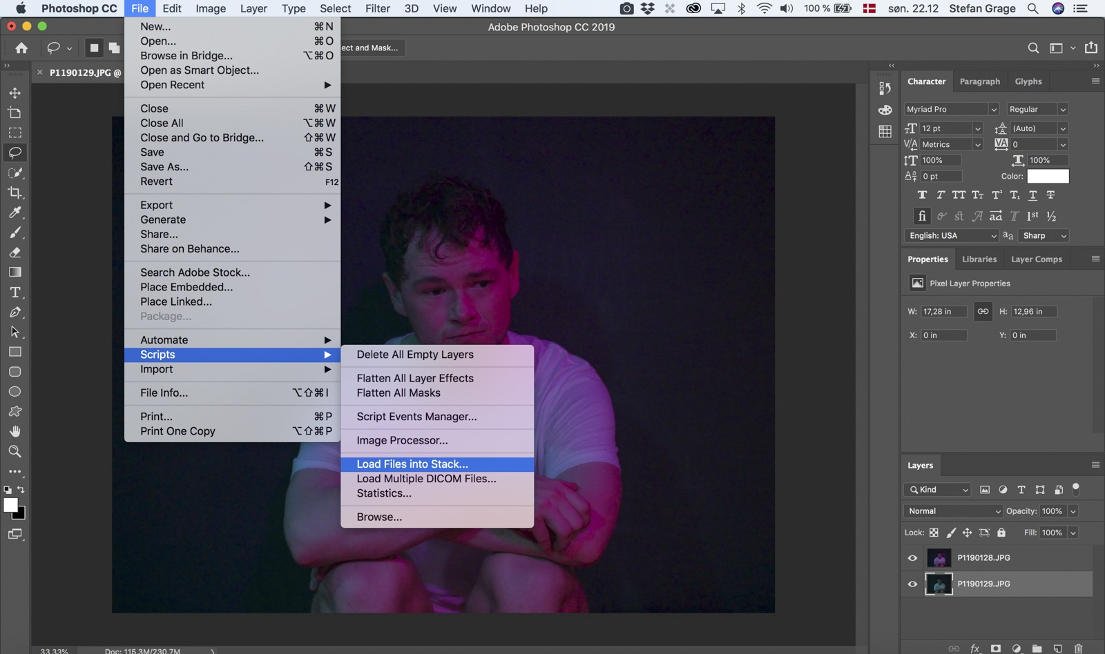 Photoshop: Open files as layers from Photoshop