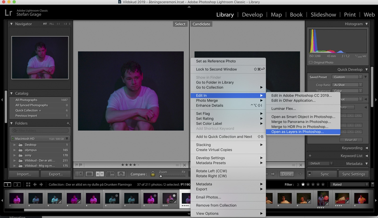 "Select the chosen images in Lightroom, and ""Open as Layers in Photoshop"""