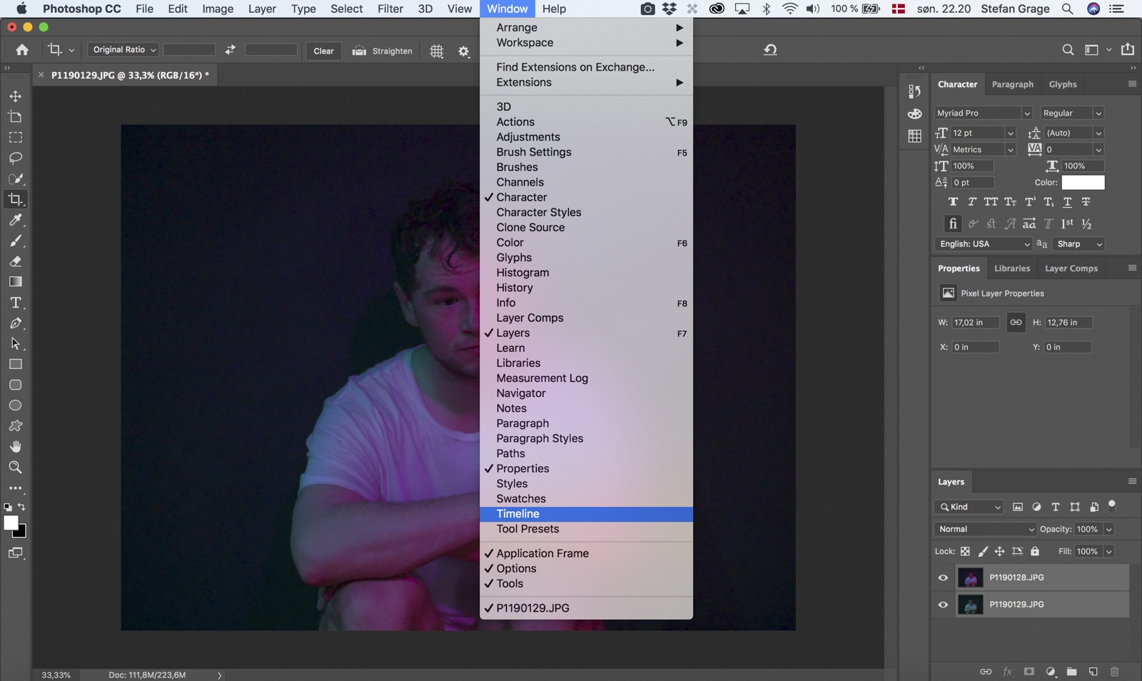 Photoshop: Show the timeline via Window -> Timeline