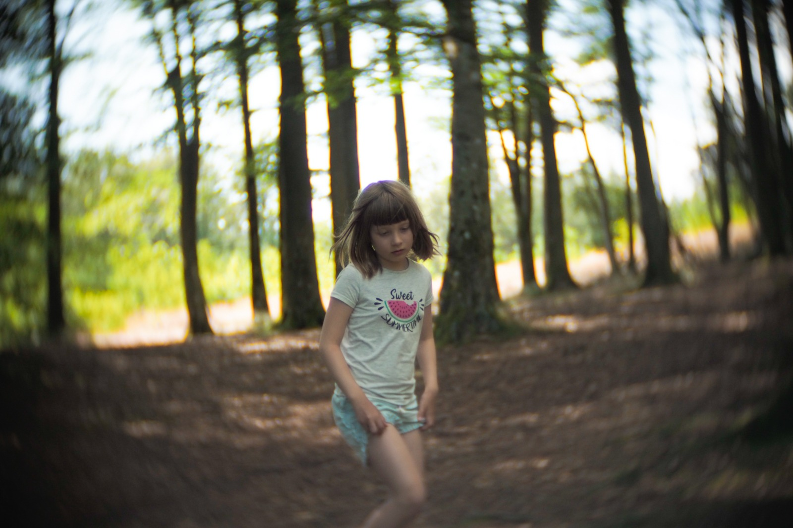 Mikka in the forest, Bornholm, shot with an SLR Magic Toy Lens