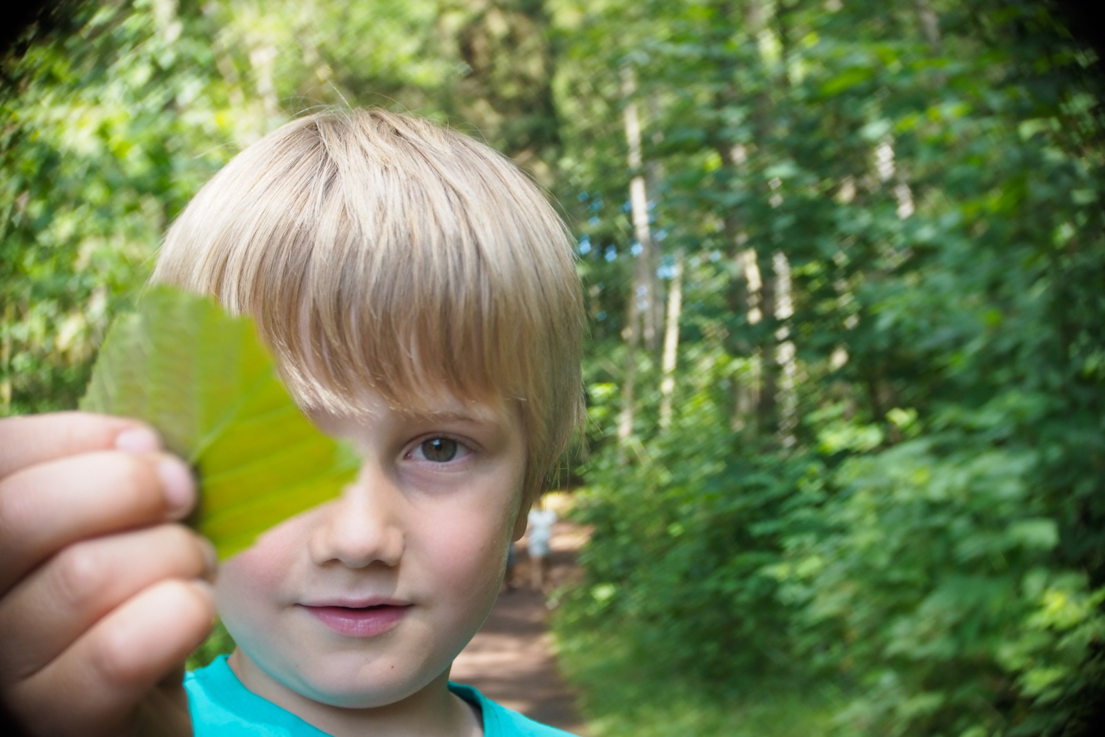 Felix in the forest, Bornholm, shot with an SLR Magic Toy Lens