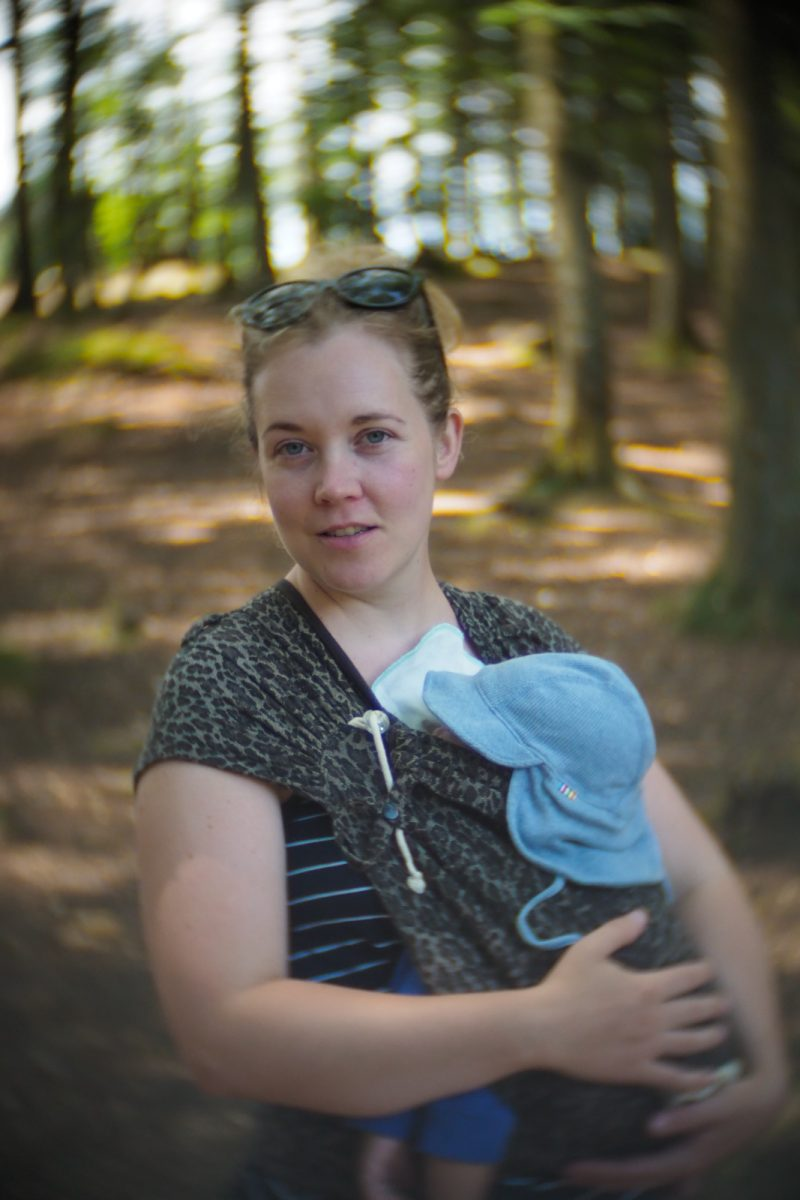 Camilla in the forest, Bornholm, shot with an SLR Magic Toy Lens