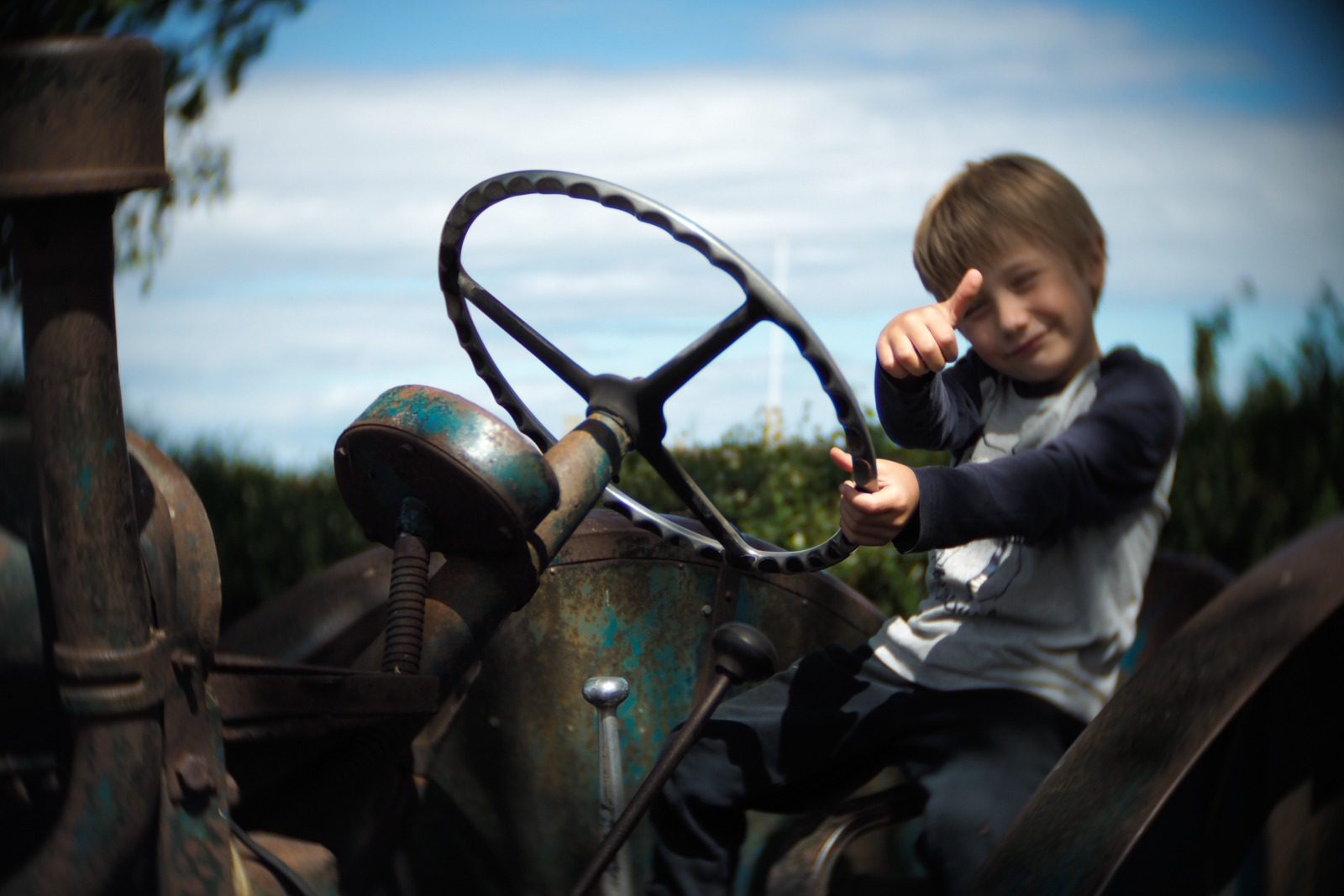 Felix on tractor shot with an SLR Magic Toy Lens