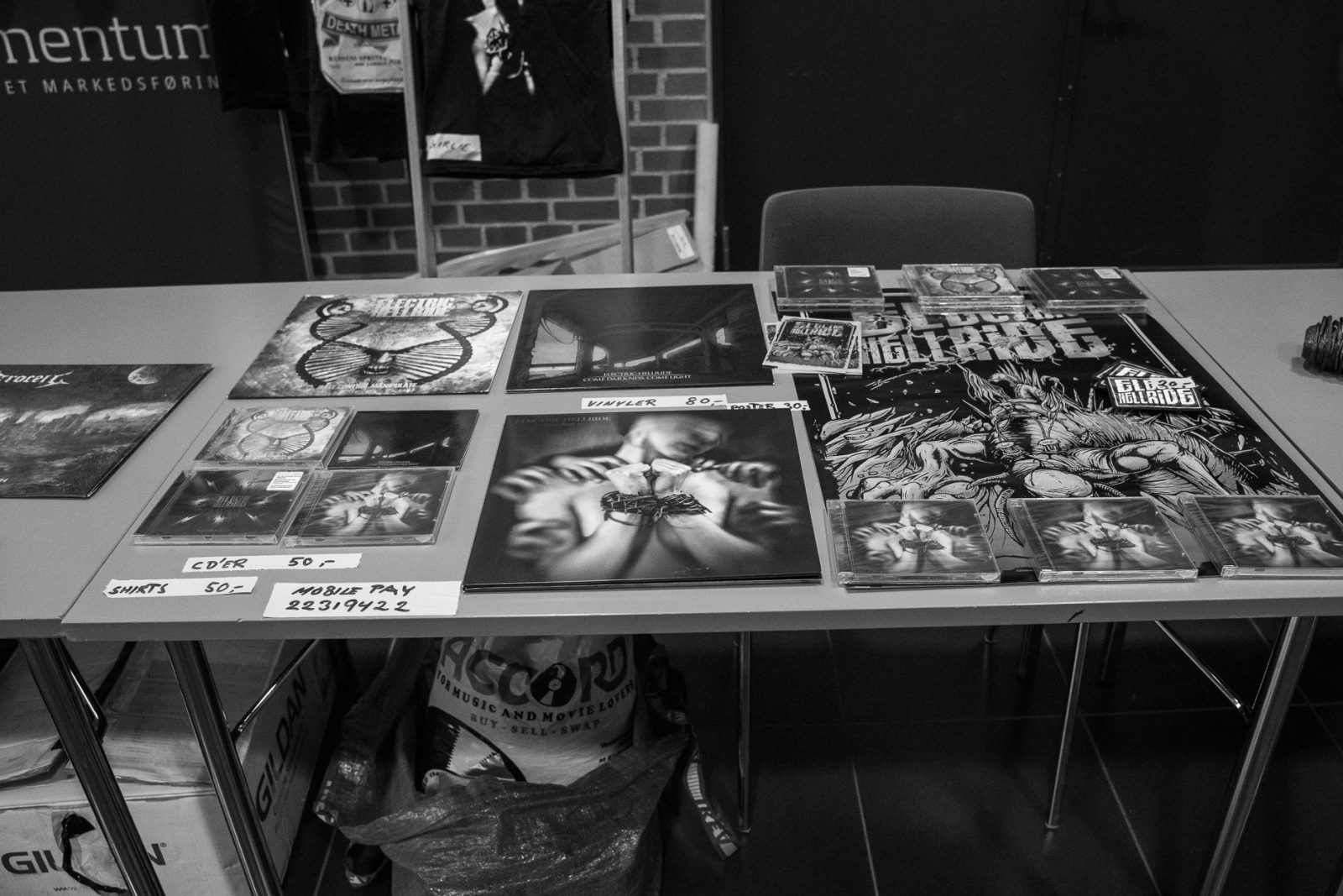 Concert Photography: Electric Hellride merchandise at Hammer Smashed Face in Frederikshavn, 2019