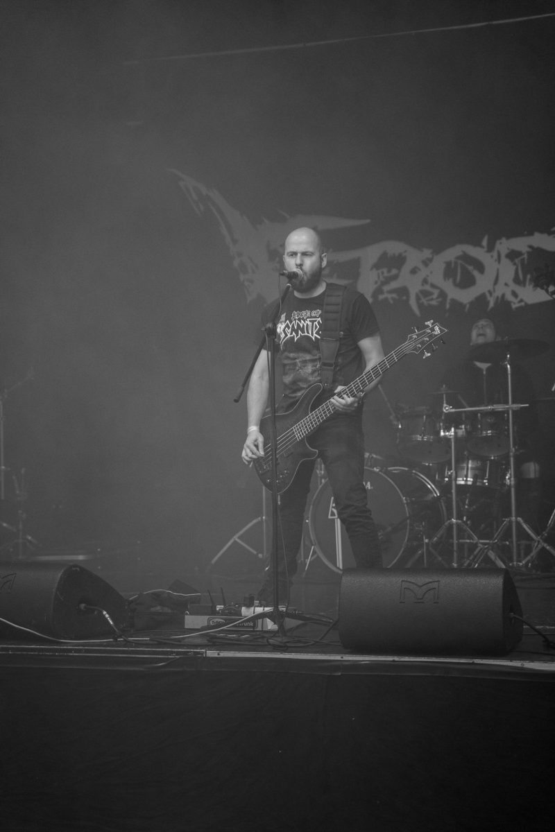 Concert Photography: Casper Villumsen fom Electric Hellride making a sound check at Hammer Smashed Face in Frederikshavn, 2019