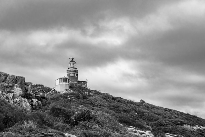 Landscape photography in black and white, Kullen and the old lighthouse, Sweden