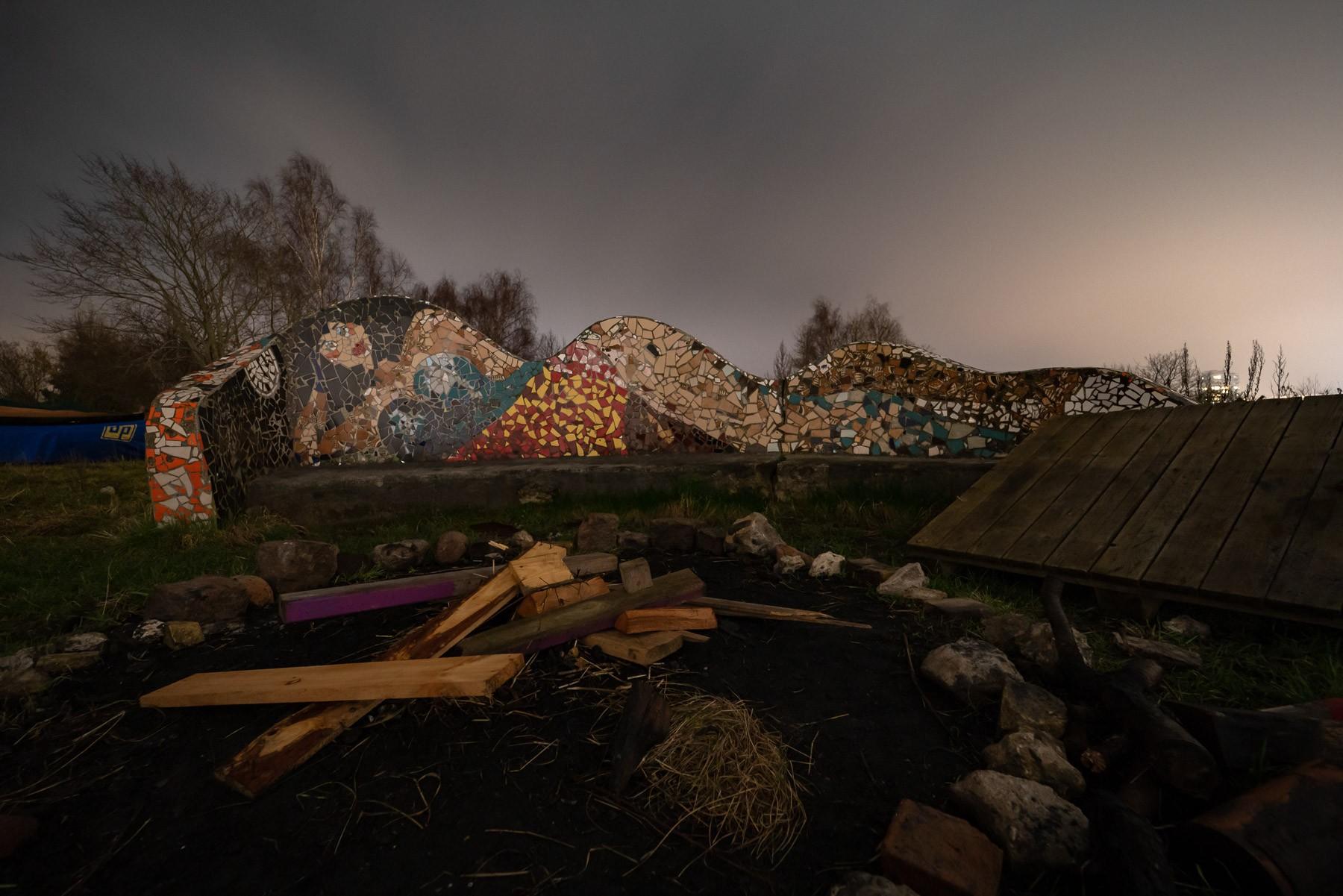 Arty-farty bænk og bålplads ved Haveforeningen Nokken