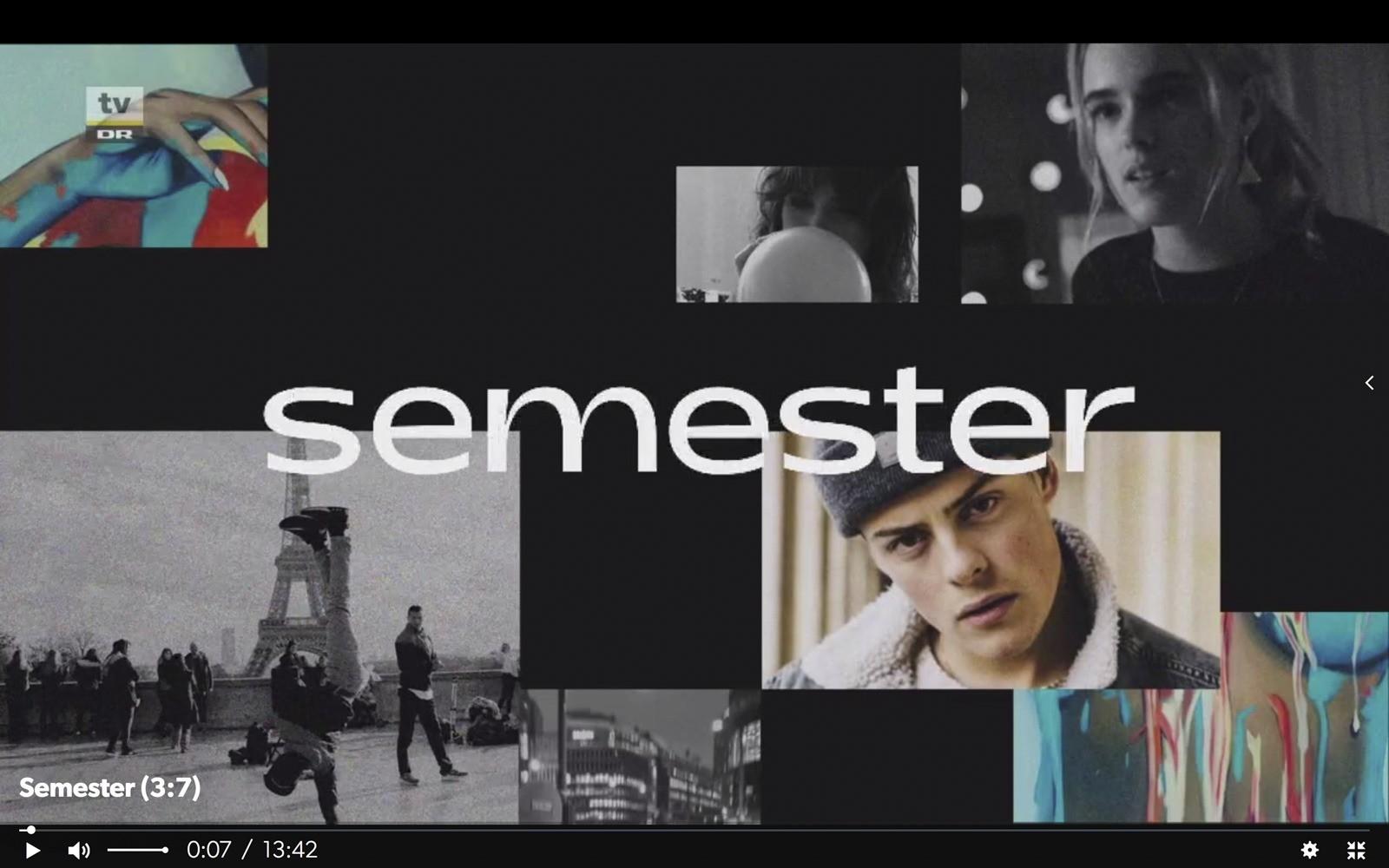 "Screendump af ""Semesters"" titelsekvens"