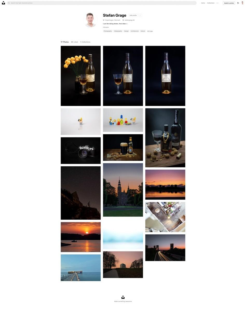 Min profil på Unsplash.com