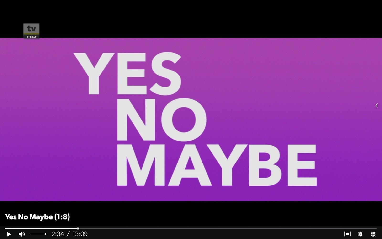 Screendump af Yes No Maybes titelsekvens