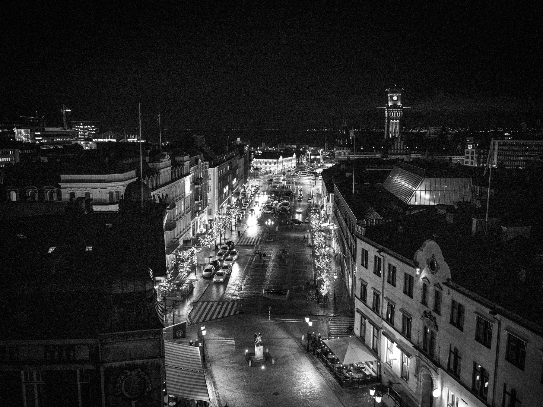 Helsingborg downtown og skyline set fra Kernen (Kärnan)