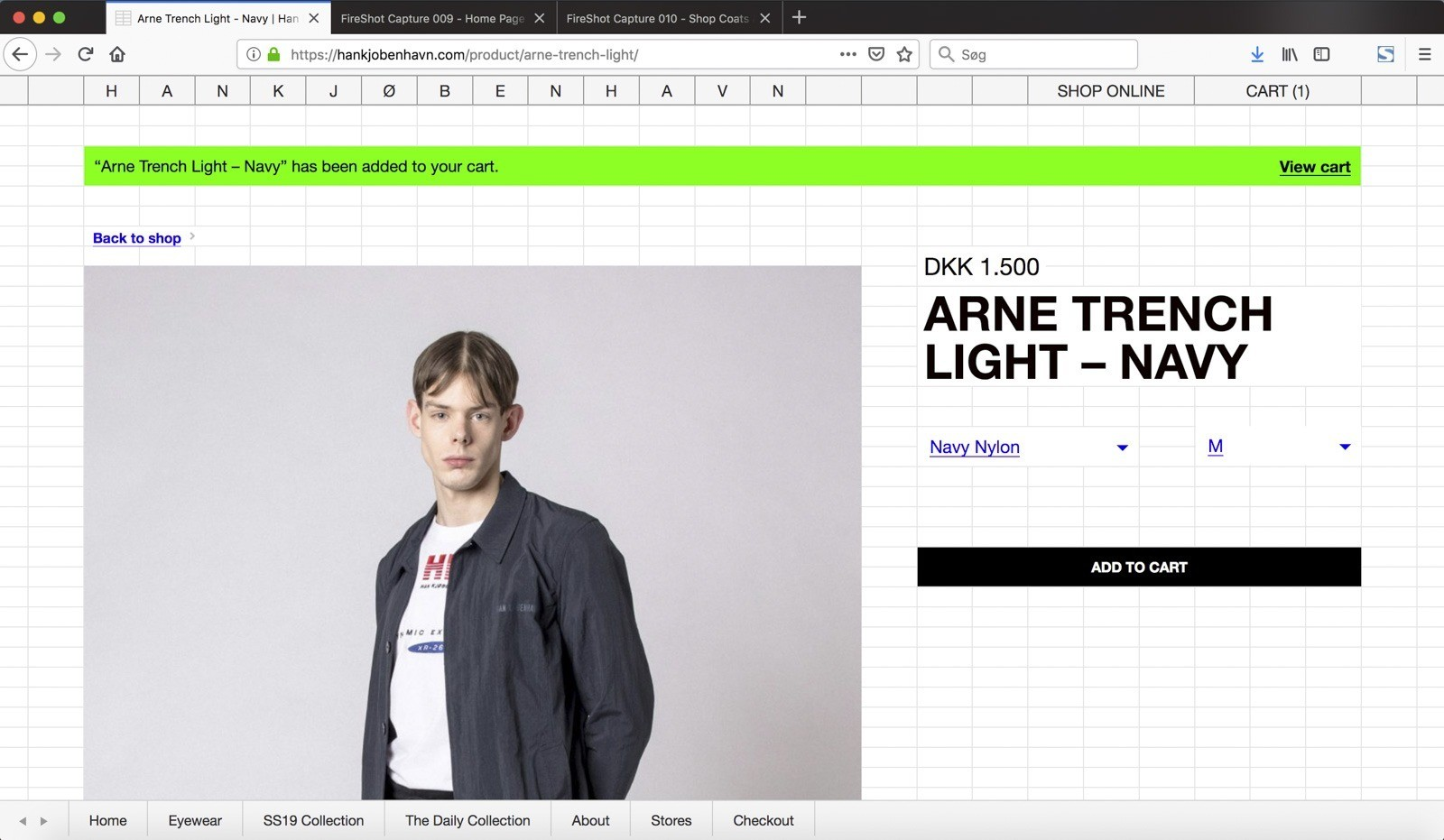 Han Kjøbenhavns website - single product view