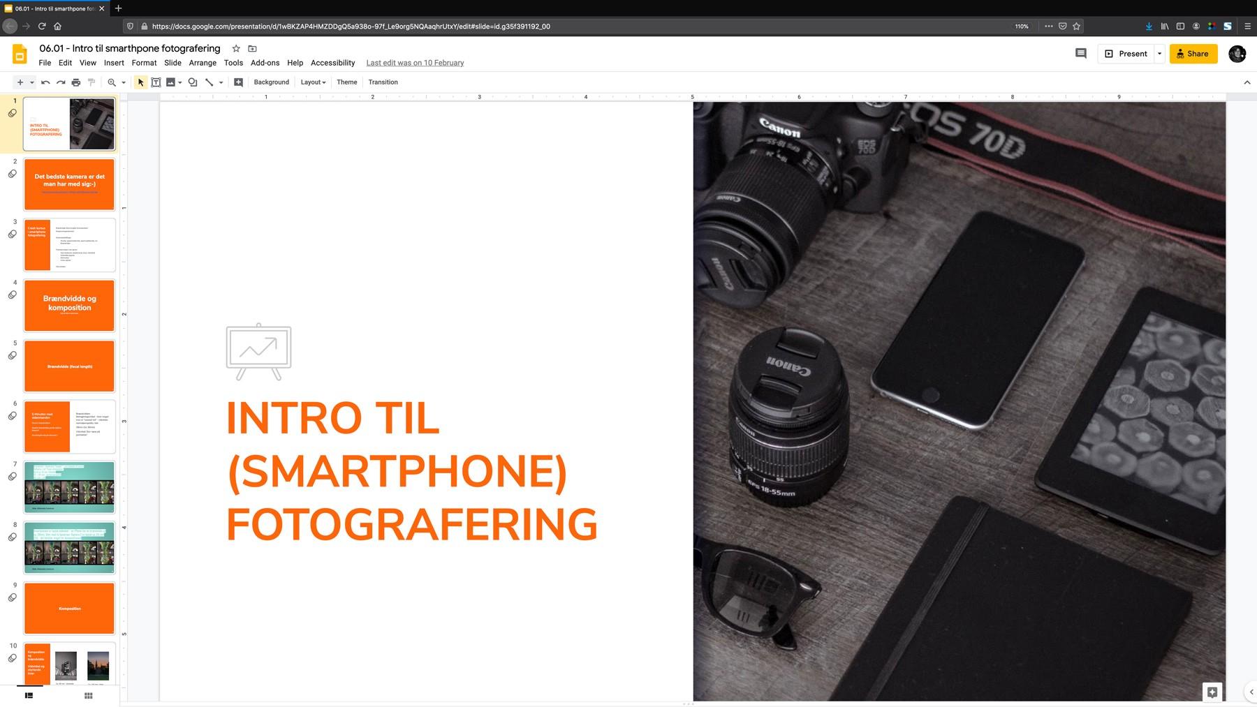 Intro til smartphone fotografering - eksempel på kursusaktivitet (ny fane)