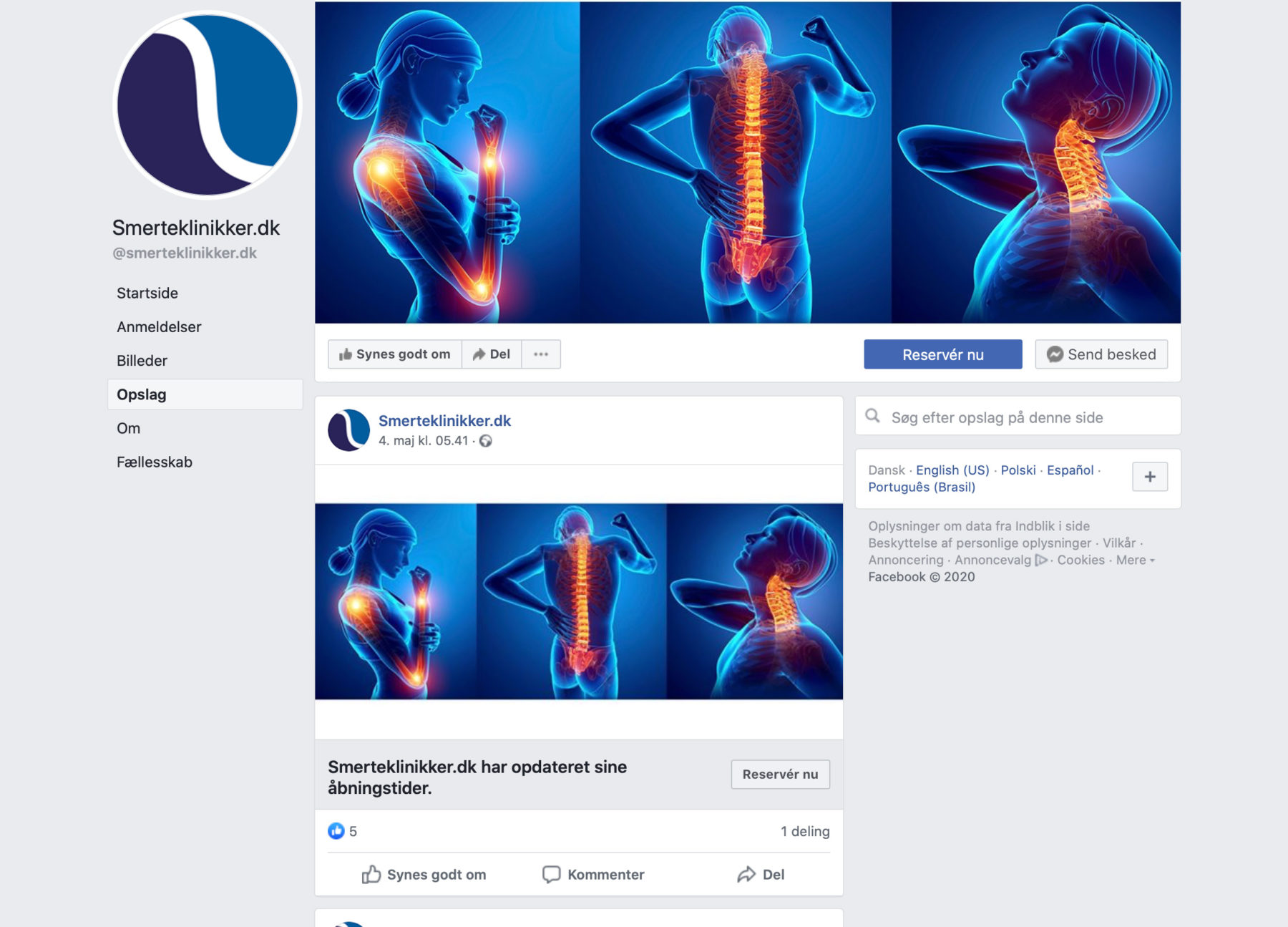 Smerteklinikker.dk - facebook side