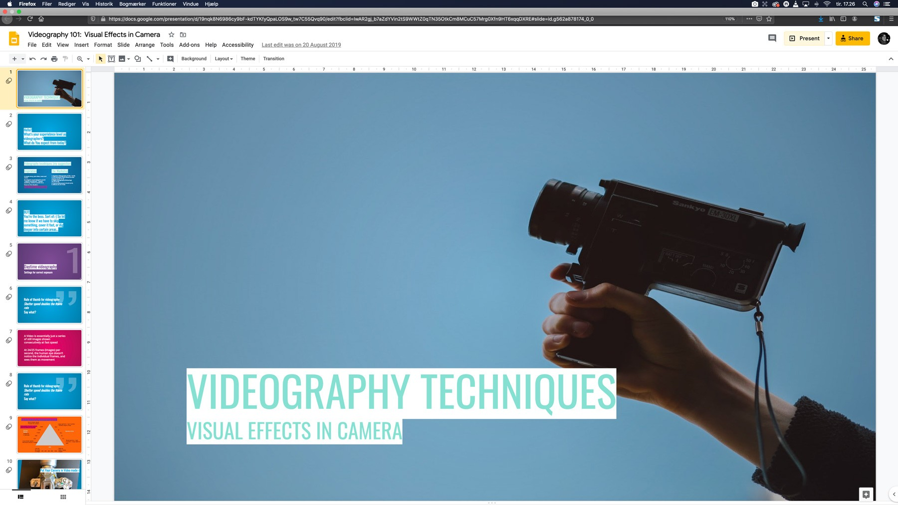 Videography techniques workshop