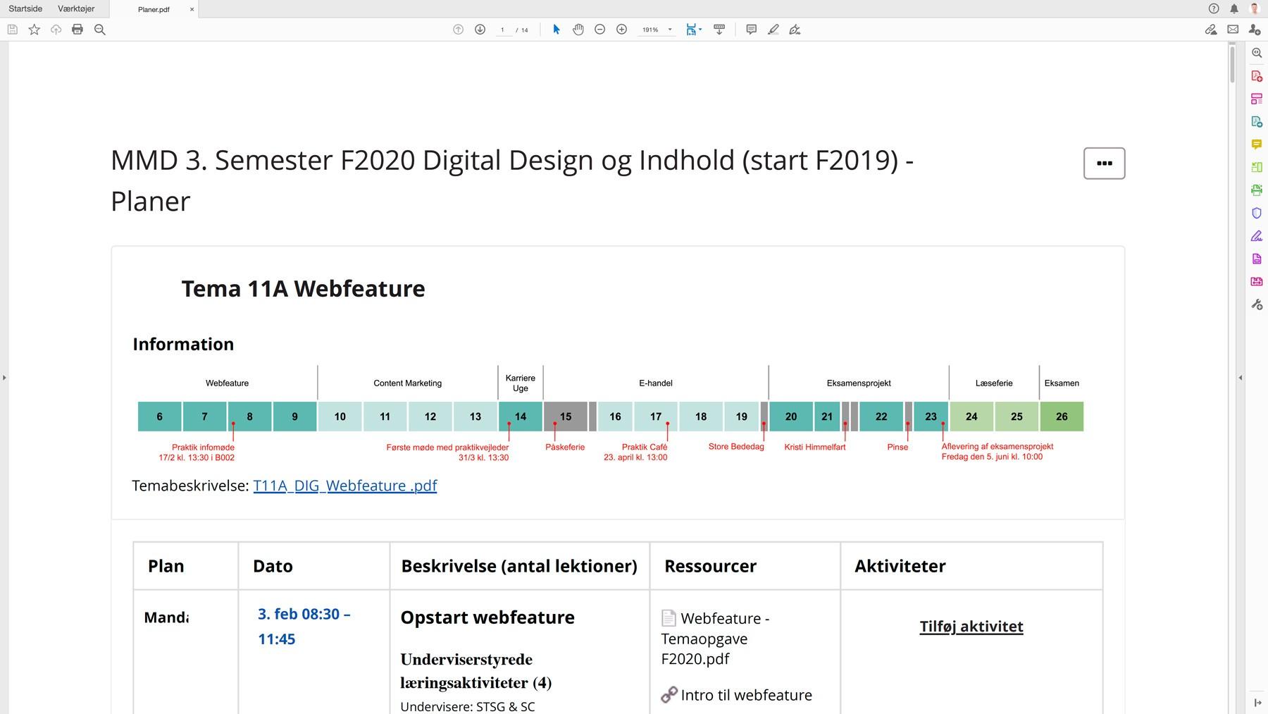 Dagsplaner, webfeature