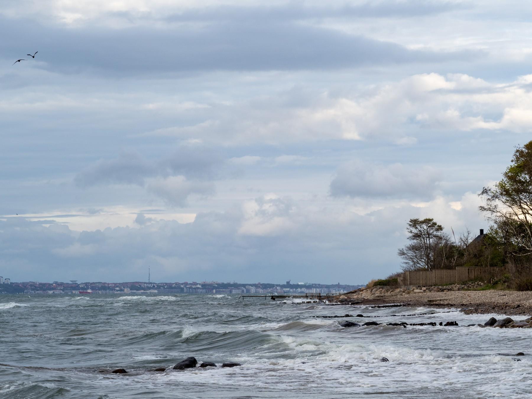 Høje bølger ved stranden
