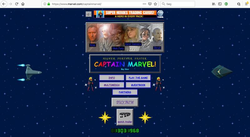 Screendump af Captain Marvel filmens mikrosite