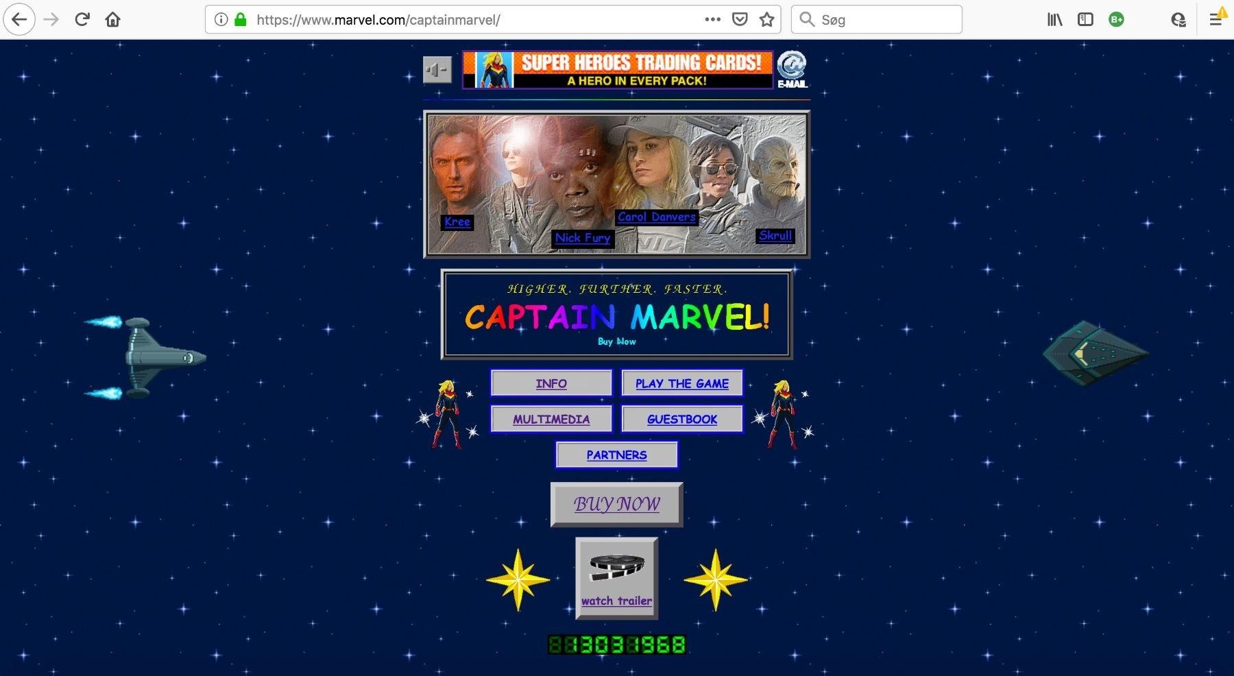 Screendump af Captain Marvel filmens mikrosite