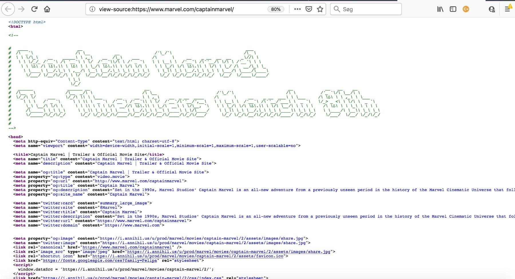 ASCII art i Captain Marvel kampagnesitets kildekode