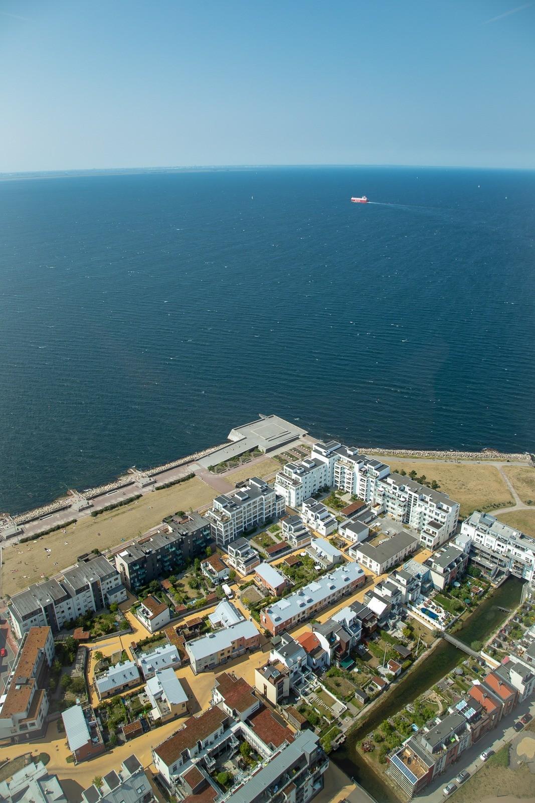 Turning Torso: Udsigt over Västra Hamnen fra besøgscentret på 45. etage
