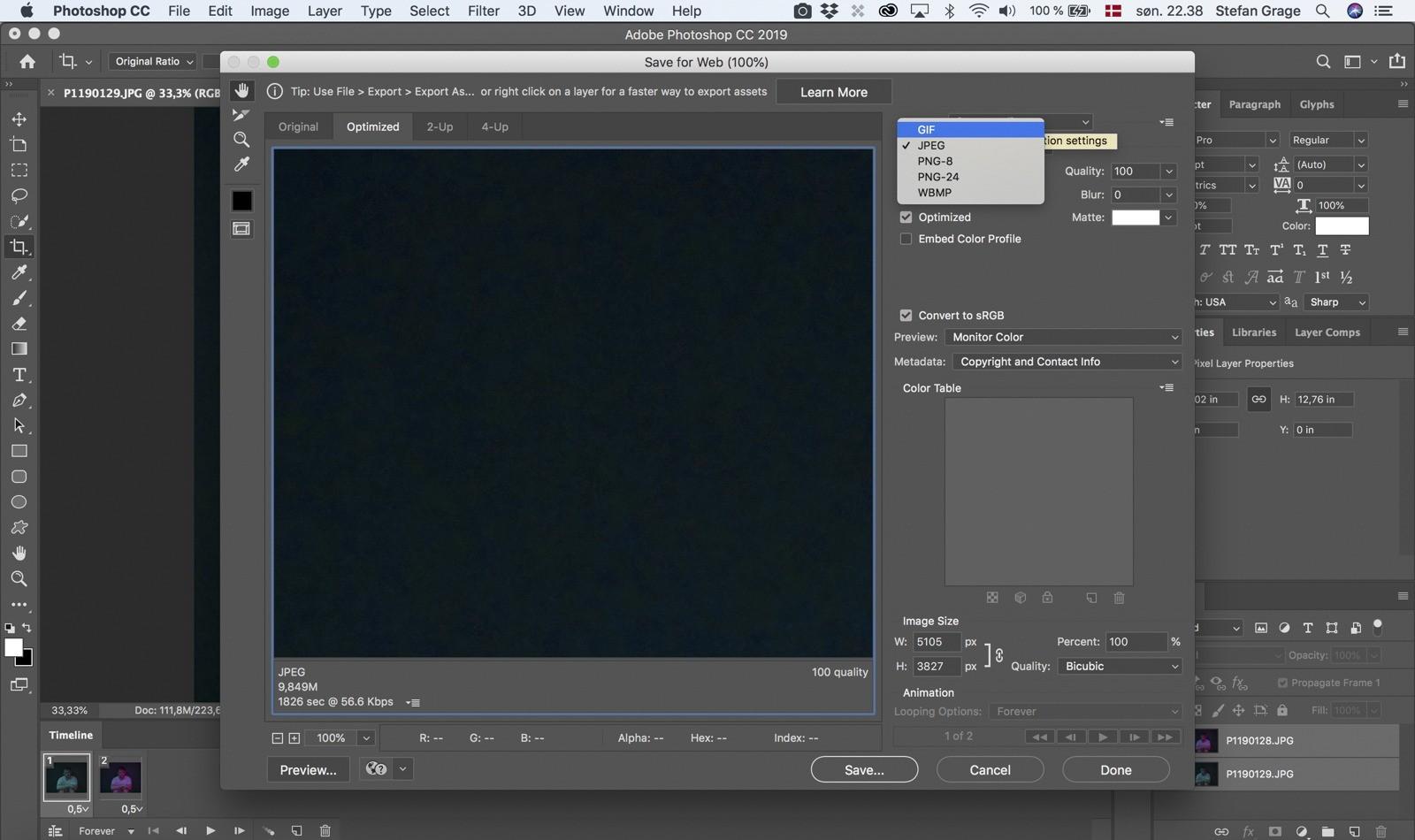 Photoshop: Eksporter som GIF