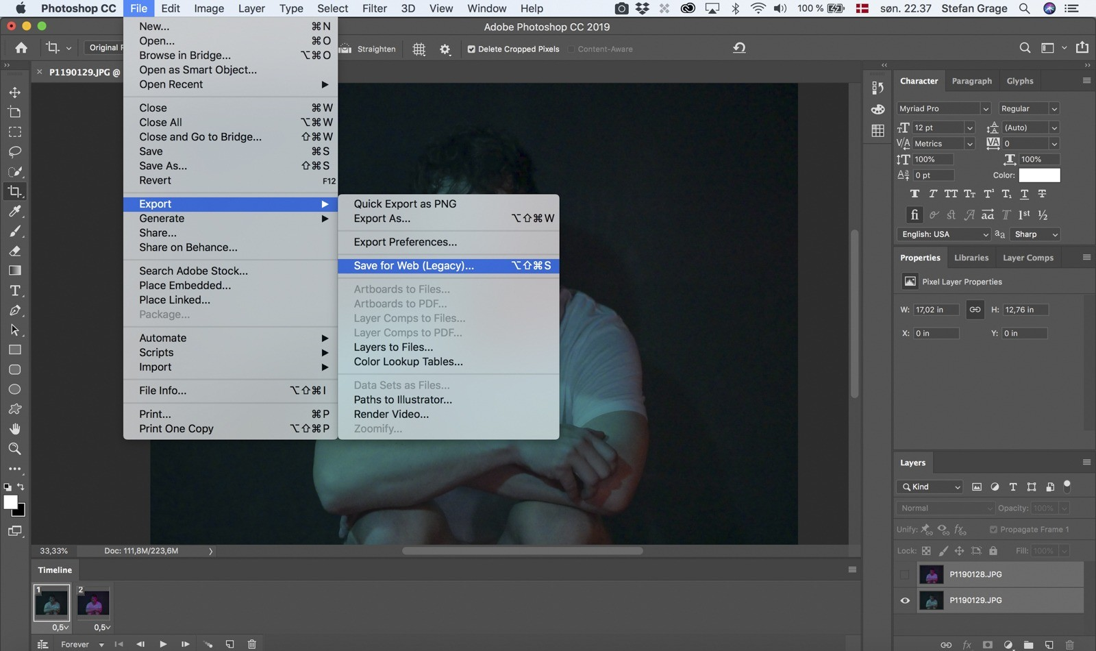 Photoshop: Eksporter din GIF-animation