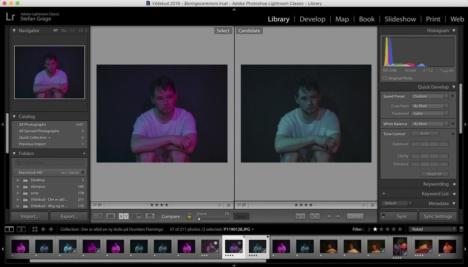 Lightroom screendump: De to udvalgte billeder til GIF-animationen