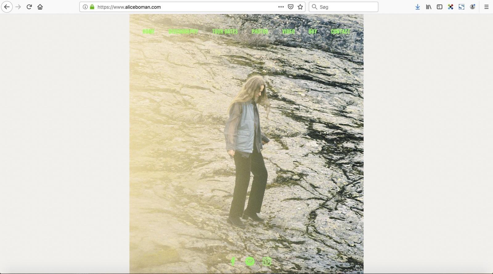 Screendump af forsiden på aliceboman.com