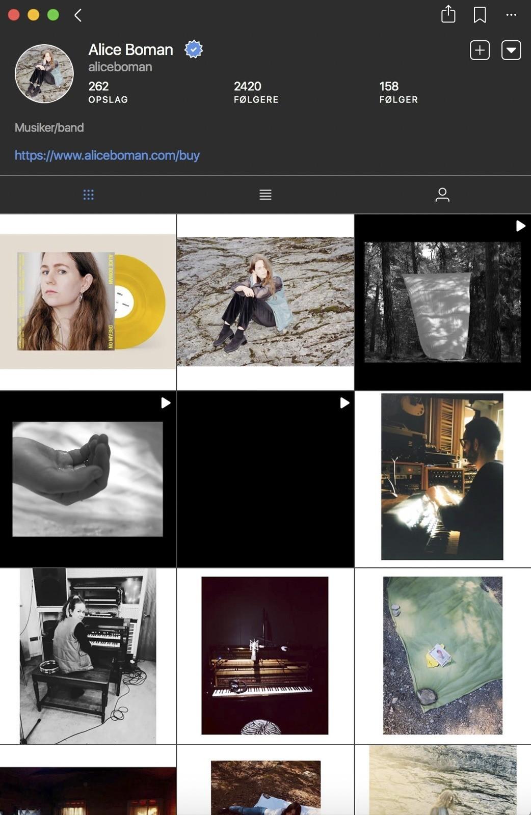 Alice Boman på Instagram