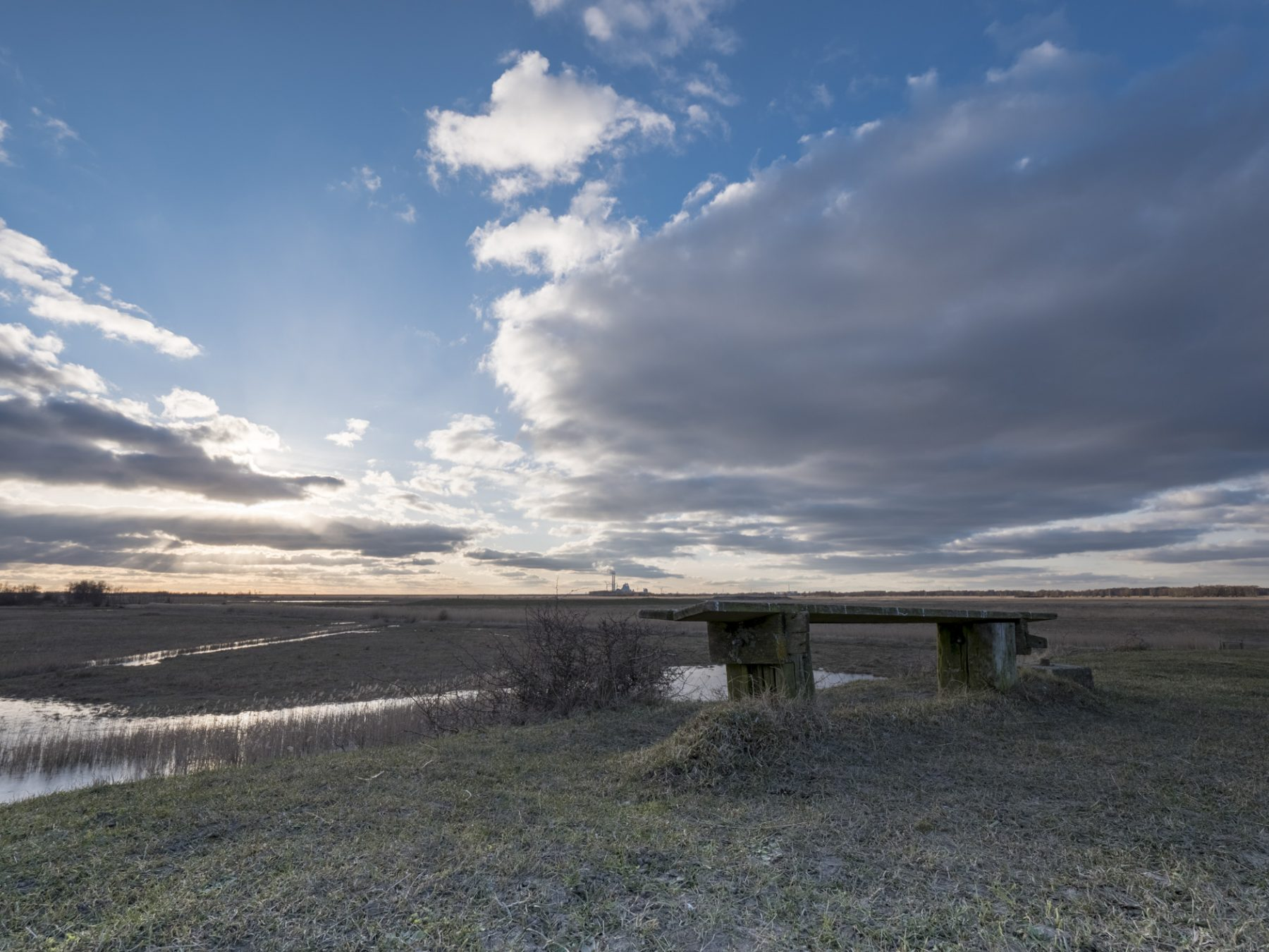 Landskabsfotografering: Kalvebod Fælled - en bænk på et stille sted