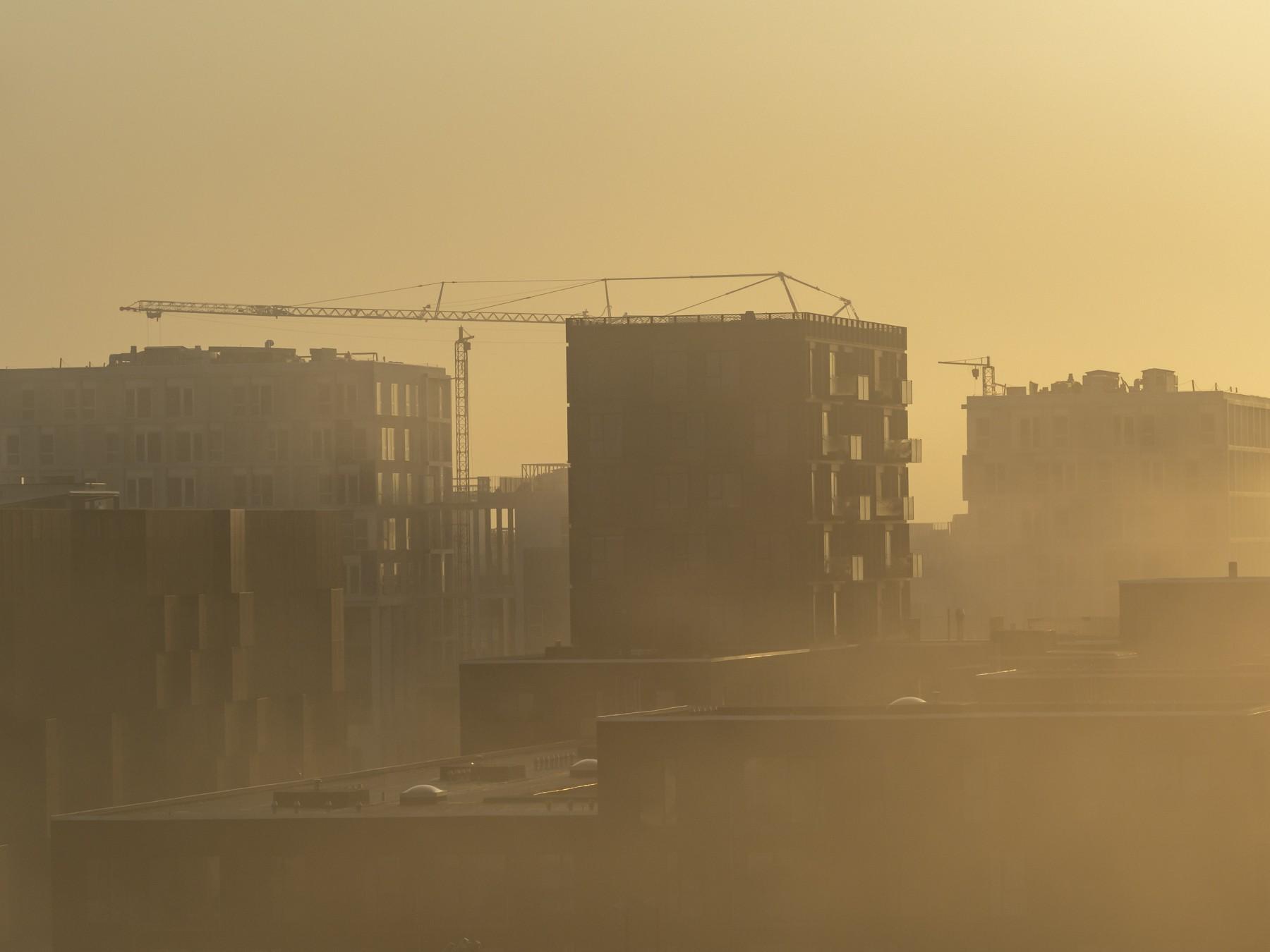 Ørestad og Bellakvarter på en tåget morgen