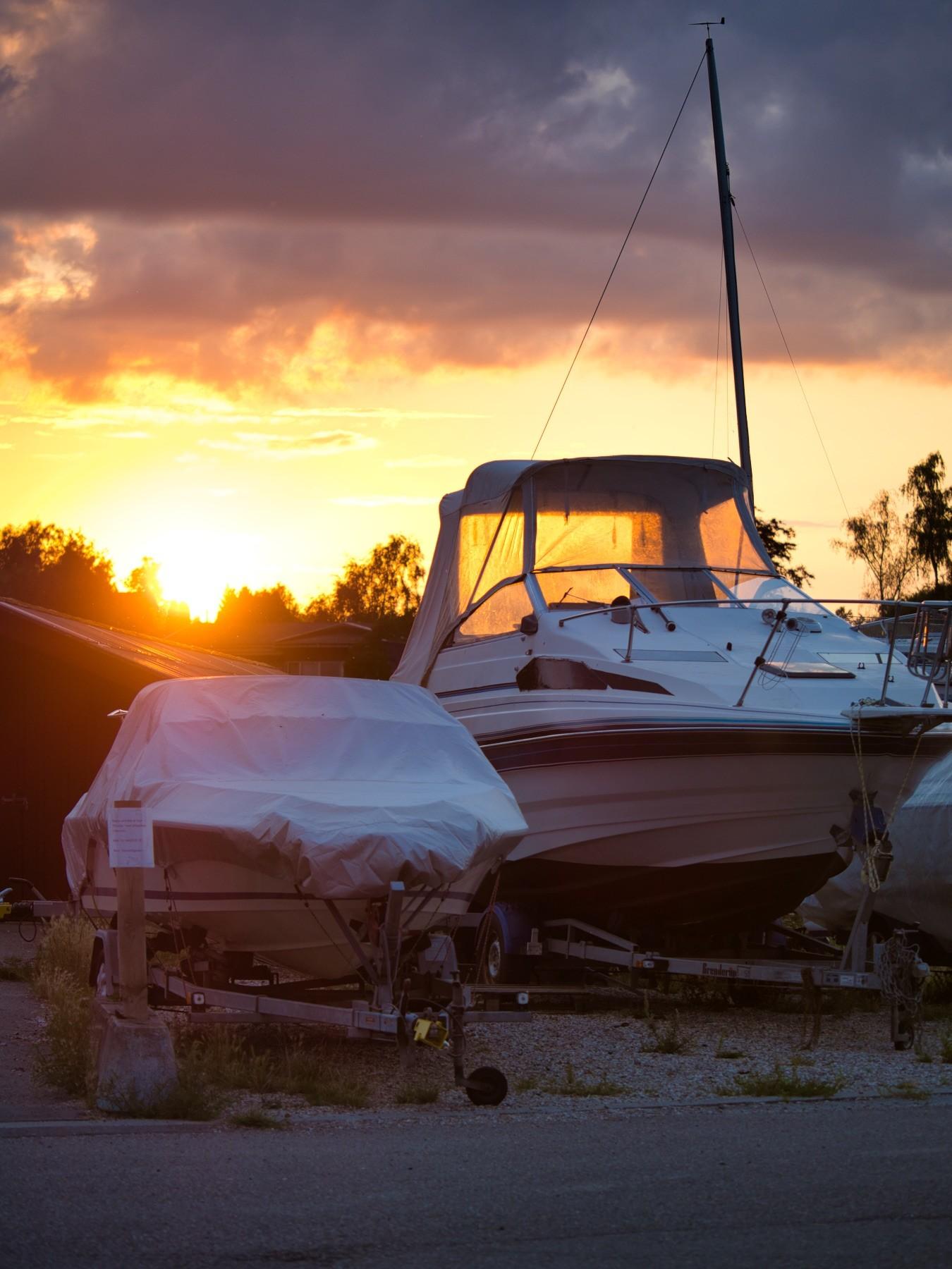 Motorbåde ved Mosede Havn