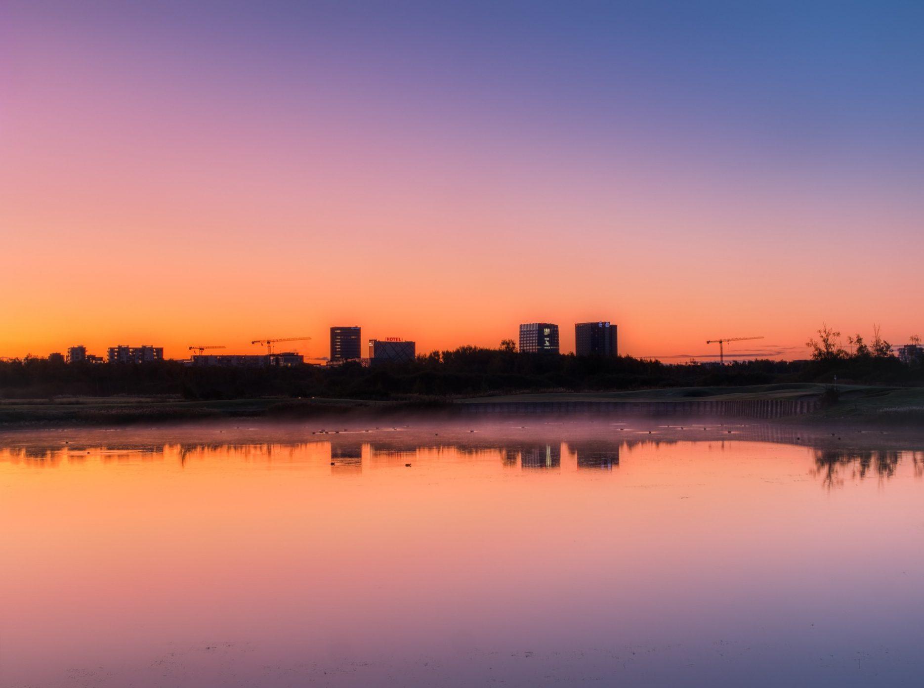 Ørestad ved solopgang, efterår 2019