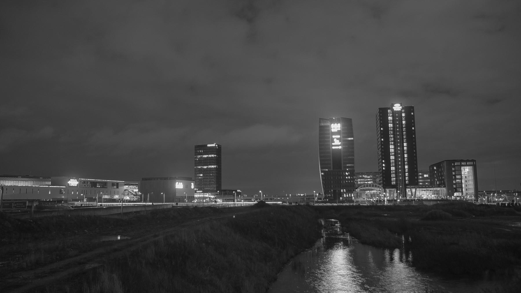 Downtown Ørestad skyline i sort/hvid