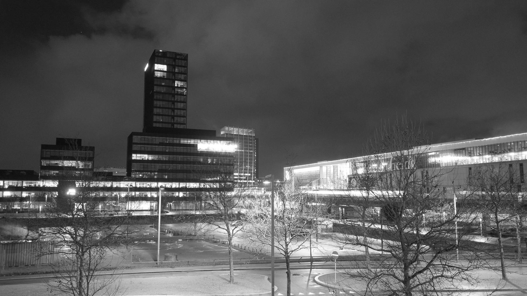 Ørestad om natten set fra Ørestad skole