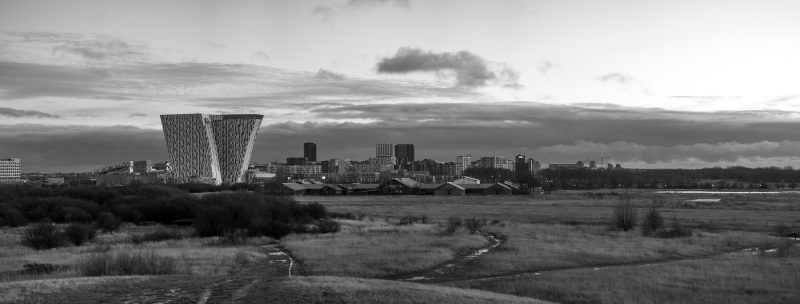 Panorama af Ørestad i sort/hvid