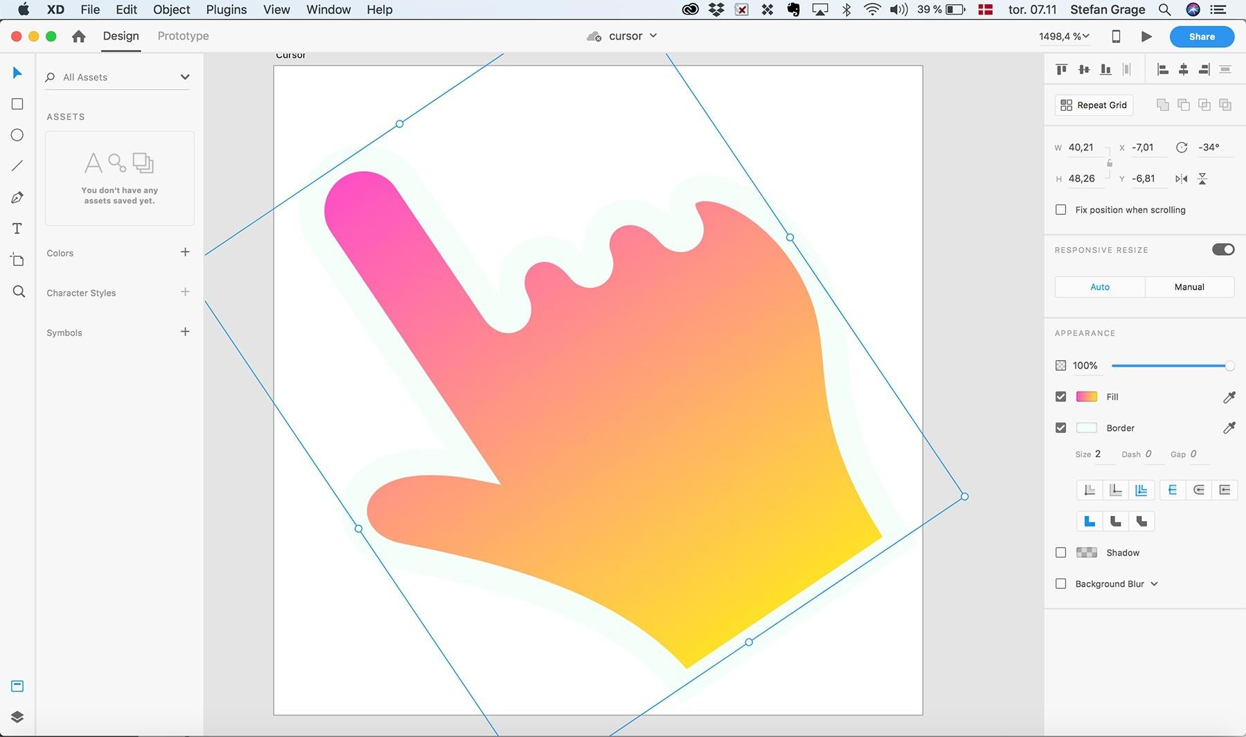 Design af custom cursor i Adobe XD