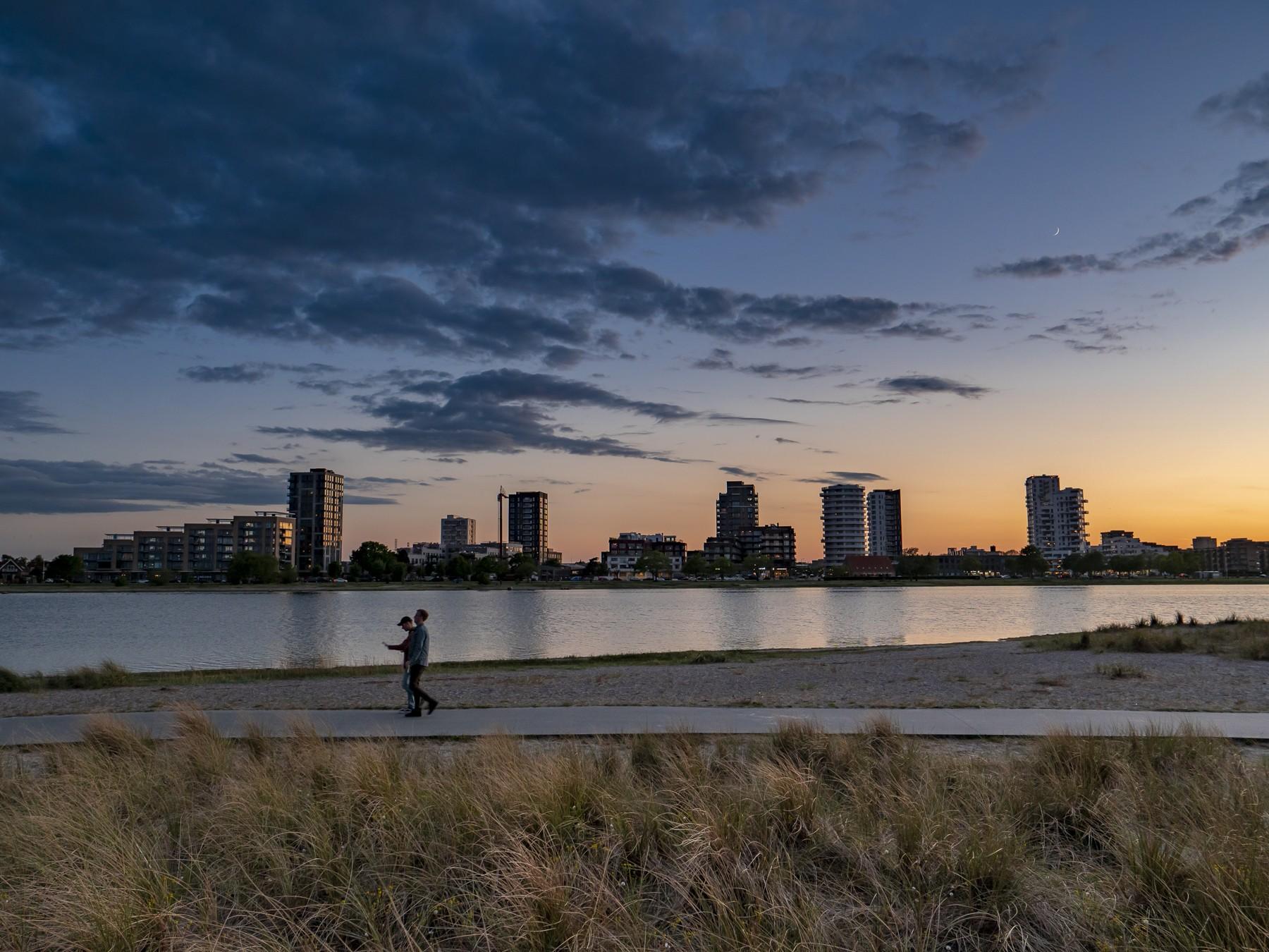 Amager Strand lidt efter solnedgang
